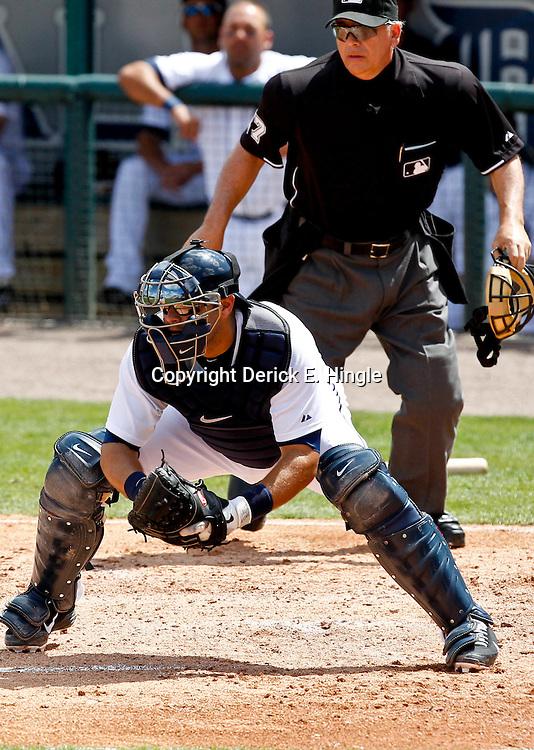 March 14, 2012; Lakeland, FL, USA; Detroit Tigers catcher Alex Avila (13) against the New York Mets during a spring training game at Joker Marchant Stadium. Mandatory Credit: Derick E. Hingle-US PRESSWIRE