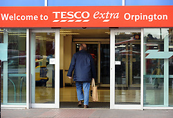 "© Licensed to London News Pictures. 09/12/2014. Today picture of Tesco Extra Orpington High Street Kent. Tesco has warned today 9th December 2014, its full-year profits will be substantially below market expectations. The supermarket chain said its group trading profit for the full financial year ""will not exceed £1.4bn"", below the £1.8bn to £2.2bn range expected by markets. The downgraded guidance follows its admission earlier this year that it had misstated its profits by £263m (Byline:Grant Falvey/LNP)"