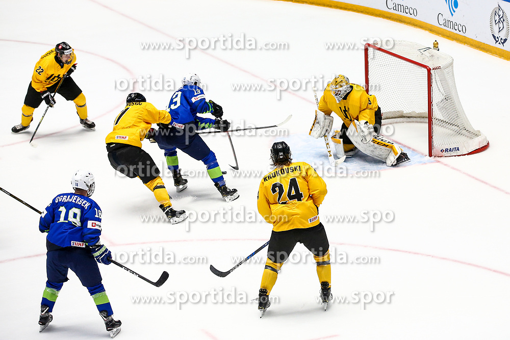 Miha Verlic of Slovenia vs Mantas Armalis of Lithuania during ice hockey match between Slovenia and Lithuania at IIHF World Championship DIV. I Group A Kazakhstan 2019, on May 5, 2019 in Barys Arena, Nur-Sultan, Kazakhstan. Photo by Matic Klansek Velej / Sportida
