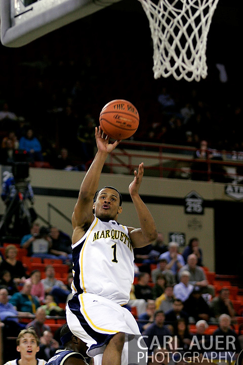 25 November 2005: Marquette Golden Eagle Dominic James (1), a freshman guard, takes a fade away jumper in the Marquette University 73-70 victory over Oral Roberts University at the Great Alaska Shootout in Anchorage, Alaska