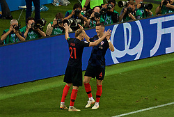 MOSCOW, RUSSIA - Wednesday, July 11, 2018: Croatia's Ivan Perišić celebrates scoring the first equalising goal with team-mate Domagoj Vida during the FIFA World Cup Russia 2018 Semi-Final match between Croatia and England at the Luzhniki Stadium. (Pic by David Rawcliffe/Propaganda)