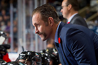 KELOWNA, CANADA - NOVEMBER 10: Kelowna Rockets' head coach Jason Smith stands on the bench against the Vancouver Giants on November 10, 2017 at Prospera Place in Kelowna, British Columbia, Canada.  (Photo by Marissa Baecker/Shoot the Breeze)  *** Local Caption ***