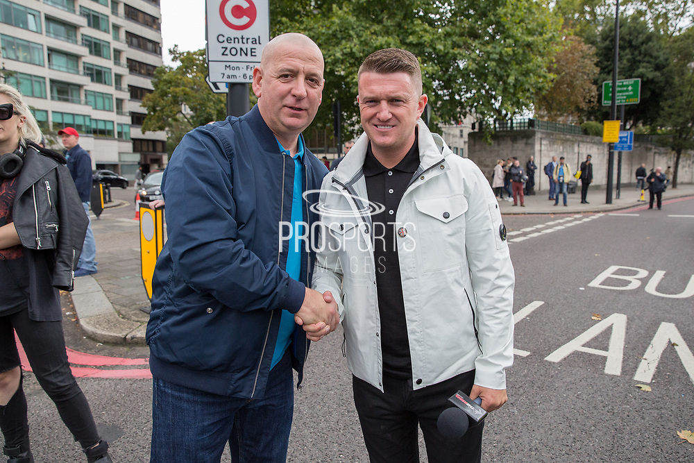 Tommy Robinson during the Football Lads Alliance march between Park Lane and Westminster Bridge, London on 7 October 2017. Photo by Phil Duncan.