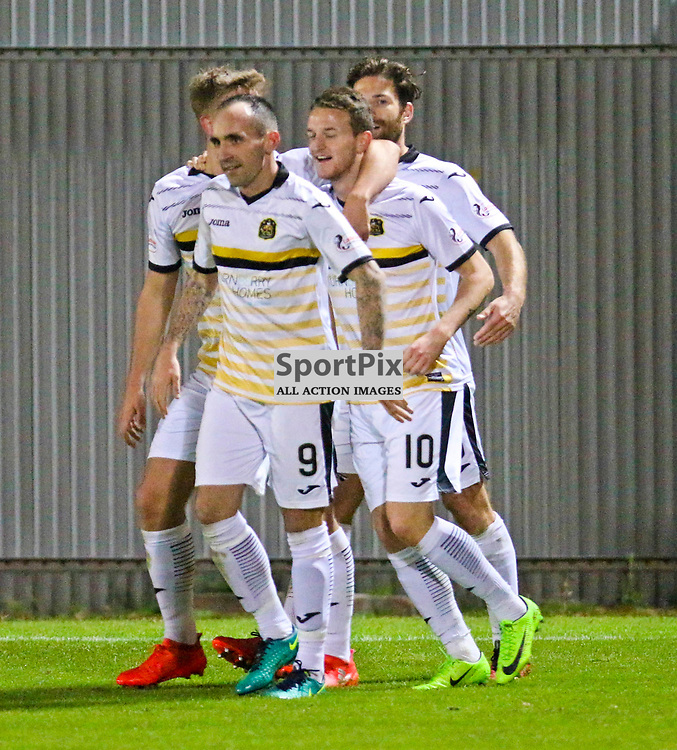 Players celebrate during the Dumbarton v Stranraer Irn Bru Cup round three 06 October 2017<br /> <br /> <br /> <br /> <br /> <br /> (c) Andy Scott | SportPix.org.uk