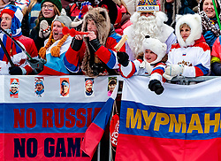 10.12.2017, Biathlonarena, Hochfilzen, AUT, IBU Weltcup Biathlon, Hochfilzen, Damen, Staffel, im Bild Russische Fans mit Fahnen und Transparenten - No Russia no Games // Russian fans with flags and banners - No Russia no Games during women's Relay of BMW IBU Biathlon World Cup at the Biathlonarena in Hochfilzen, Austria on 2017/12/10. EXPA Pictures © 2017, PhotoCredit: EXPA/ JFK