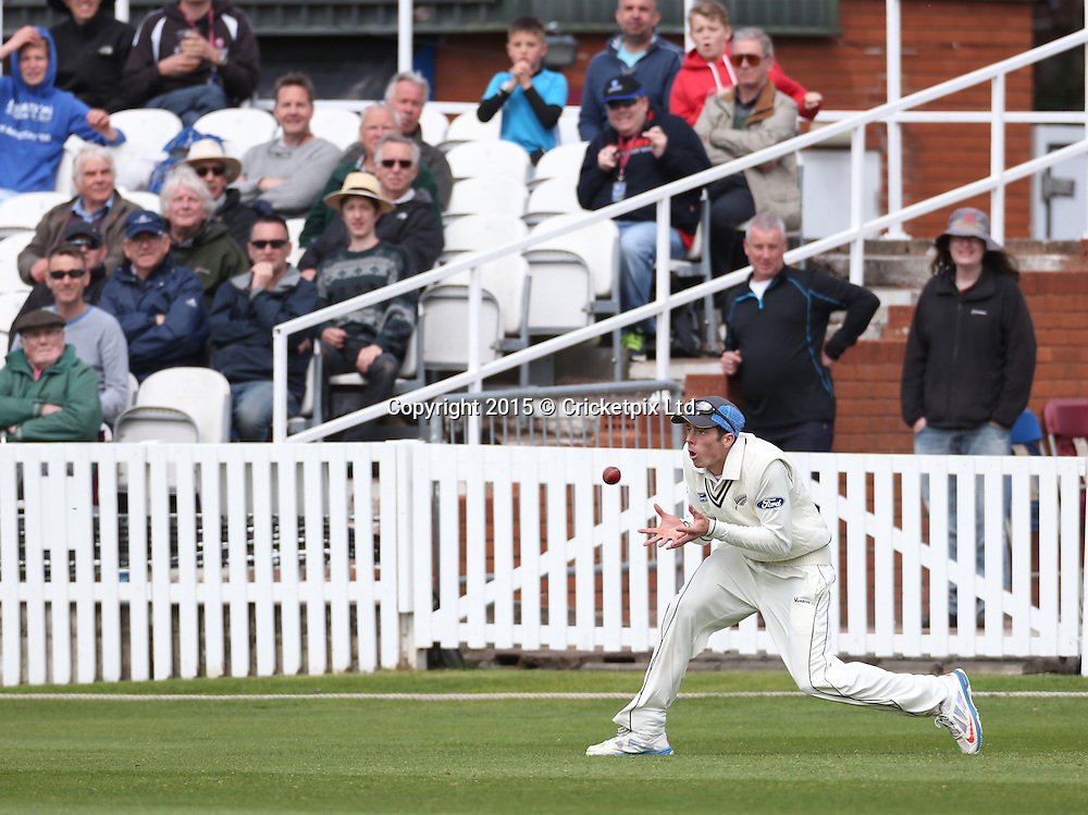 All eyes on Mitchell Santner as he catches Peter Trego off the bowling of Neil Wagner during the four day game between Somerset and a New Zealand XI at the County Ground, Taunton. Photo: Graham Morris/www.cricketpix.com (Tel: +44 (0)20 8969 4192; Email: graham@cricketpix.com) 09052015