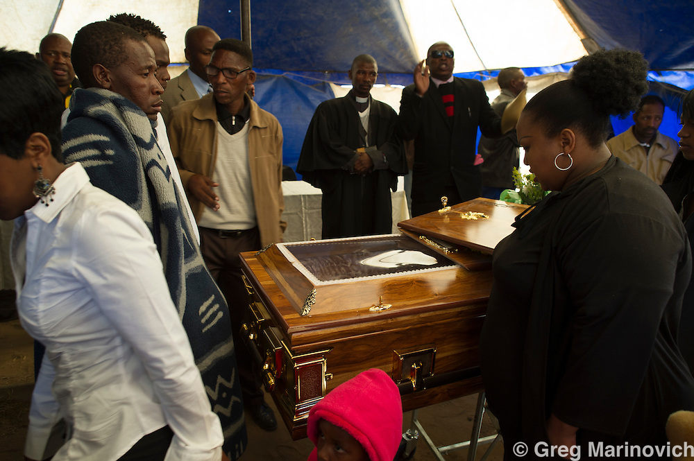 France, Sasolburg, South Africa, 1 Sept, 2012. The funeral of slain driller leader Andries Ntsenyeho who was killed August 16th, 2012, during the Marikana Massacre of striking Lonmin miners. Photo Greg Marinovich