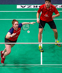 Debora Jille and Ties van der Lecq in action during the Dutch Championships Badminton on February 2, 2020 in Topsporthal Almere, Netherlands