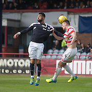 Dundee&rsquo;s Kane Hemmings and Hamilton&rsquo;s Mikey Devlin battle in the air - Dundee v Hamilton Academical, Ladbrokes Scottish Premiership at Dens Park<br /> <br /> <br />  - &copy; David Young - www.davidyoungphoto.co.uk - email: davidyoungphoto@gmail.com