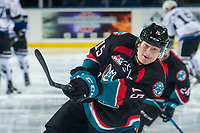 KELOWNA, CANADA - OCTOBER 5: Dallon Wilton #15 of the Kelowna Rockets warms up against the Victoria Royals  on October 5, 2018 at Prospera Place in Kelowna, British Columbia, Canada.  (Photo by Marissa Baecker/Shoot the Breeze)  *** Local Caption ***