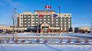 The Graden Hilton. Exteriors. Raymond SC Wan Architects, Winnipeg, Manitoba, Canada