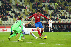 November 15, 2018 - Gdansk, Pomorze, Poland - Lukasz Skorupski (12) Jan Bednarek (5) Patrik Schick (19) during the international friendly soccer match between Poland and Czech Republic at Energa Stadium in Gdansk, Poland on 15 November 2018  (Credit Image: © Mateusz Wlodarczyk/NurPhoto via ZUMA Press)