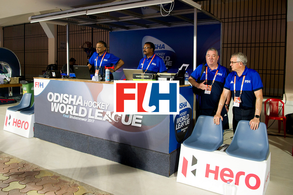 Odisha Men's Hockey World League Final Bhubaneswar 2017<br /> Match id:11<br /> Argentina v Spain<br /> Foto: Technical table.<br /> COPYRIGHT WORLDSPORTPICS FRANK UIJLENBROEK