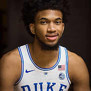 Durham, NC, Marvin Bagley III photographed on the floor of Cameron Indoor Stadium on the Duke University Campus in Durham, NC.  Logan Cyrus for ESPN