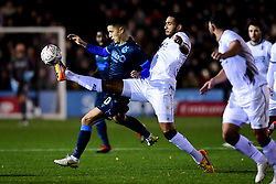 Tom Nichols of Bristol Rovers is challenged by Chris Bush of Bromley - Mandatory by-line: Ryan Hiscott/JMP - 19/11/2019 - FOOTBALL - Hayes Lane - Bromley, England - Bromley v Bristol Rovers - Emirates FA Cup first round replay
