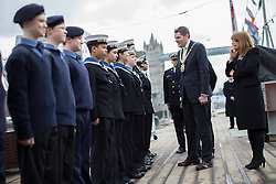 © licensed to London News Pictures. London, UK 15/03/2013. The Lord Mayor of Belfast, Gavin Robinson meets cadets on HMS Belfast as the battleship celebrates her 75th Anniversary. Photo credit: Tolga Akmen/LNP