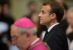 France's President Emmanuel Macron is inducted as honorary canon of The Basilica of St.John's in Rome,Italy the Pope's cathedral in his capacity as bishop of the Italian capital on June 26, 2018. Emmnanuel Macron is accompanied by his wife Brigitte. The french head of state has traditionally been given the title since French kings made large donations to support the cathedral in the 15th century. Photo by Eric Vandeville/ABACAPRESS.COM