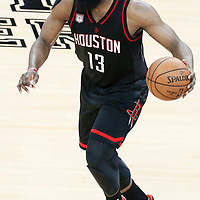 01 May 2017: Houston Rockets guard James Harden (13) dribbles during the Houston Rockets 126-99 victory over the San Antonio Spurs, in game 1 of the Western Conference Semi Finals, at the AT&T Center, San Antonio, Texas, USA.