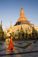 Monk walking Inside the Shwedagon Pagoda in Yangon