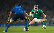 Cardiff, Wales, Great Britain, Early Substitute, Ian MADIGAN, changes direction to by pass Damien CHOULY, during the Pool D game, France vs Ireland.  2015 Rugby World Cup,  Venue, Millennium Stadium, Cardiff. Wales   Sunday  11/10/2015.   [Mandatory Credit; Peter Spurrier/Intersport-images]