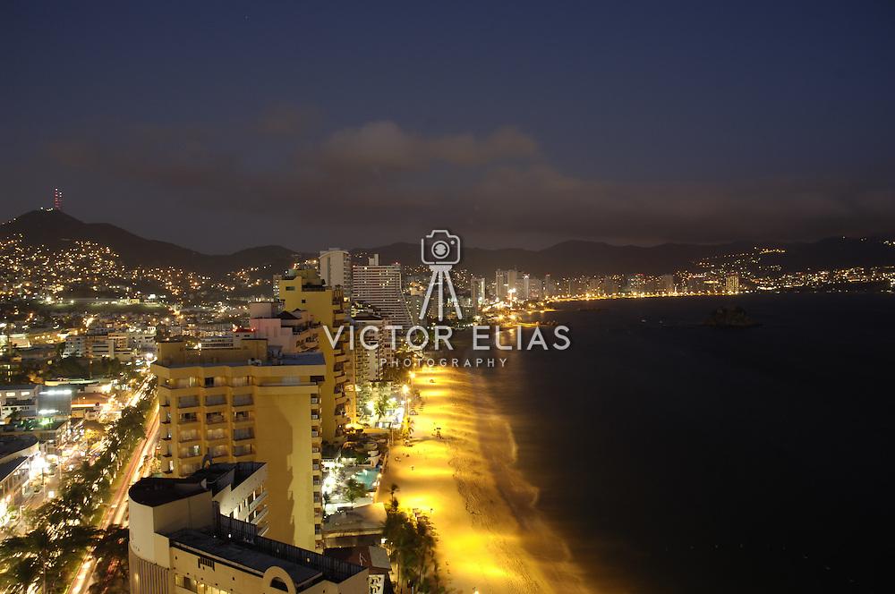 View of Acapulco bay at night from hotel balcony. Guerrero,Mexico.