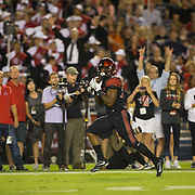 08 October 2016: The San Diego State Aztecs football team open's up the mountain west conference season at home against the University of Nevada Las Vegas Lobos. San Diego State running back Rashad Penny (20) scores on a 41 yard touchdown pass in the first quarter. The Aztecs lead the Lobos 13-7 at halftime.  www.sdsuaztecphotos.com