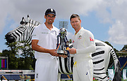 Captains Alastair Cook (left) and Michael Clarke with the Investec Trophy during net practice on the eve of the first Investec Ashes Test Match between England and Australia at SWALEC Stadium, Cardiff. Photo: Graham Morris/www.cricketpix.com (Tel: +44 (0)20 8969 4192; Email: graham@cricketpix.com) 07072015