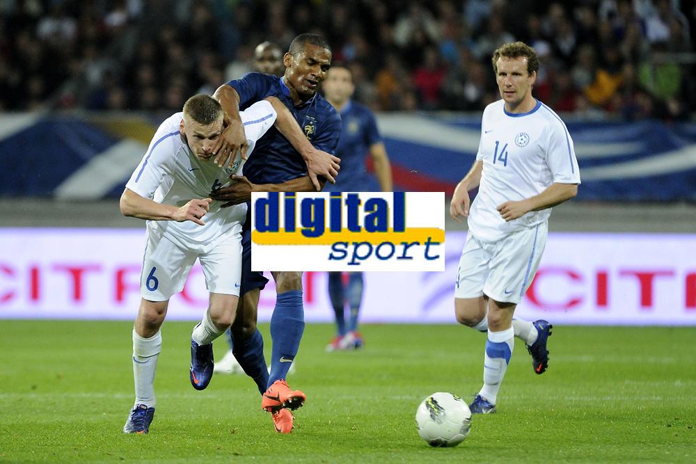 FOOTBALL - INTERNATIONAL FRIENDLY GAMES 2011/2012 - FRANCE v ESTONIA  - 5/06/2012 - PHOTO JEAN MARIE HERVIO / REGAMEDIA / DPPI - FLORENT MALOUDA (FRA) / ALEKSANDR DMITRIJEV (EST)