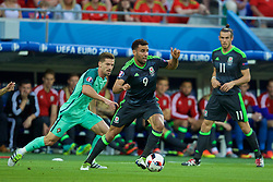 LYON, FRANCE - Wednesday, July 6, 2016: Wales' Hal Robson-Kanu in action against Portugal during the UEFA Euro 2016 Championship Semi-Final match at the Stade de Lyon. (Pic by David Rawcliffe/Propaganda)