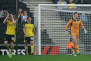 Sam Walker of Colchester United (far right) shows his frustration after going 2-0 down as Elliot Hewitt of Colchester United (far left) put his hands on his head during the Sky Bet League 1 match between Milton Keynes Dons and Colchester United at stadium:mk, Milton Keynes<br /> Picture by Richard Blaxall/Focus Images Ltd +44 7853 364624<br /> 29/11/2014
