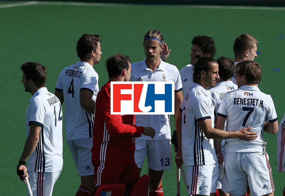 JOHANNESBURG, SOUTH AFRICA - JULY 13: France players gather prior to the day 3 of the FIH Hockey World League Semi Finals Pool A match between Japan and France at Wits University on July 13, 2017 in Johannesburg, South Africa. (Photo by Jan Kruger/Getty Images for FIH)