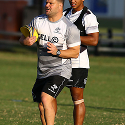 DURBAN, SOUTH AFRICA - MAY 03: Garth April with Omar Mouneimne (Defence coach) of the Cell C Sharks during the Cell C Sharks training session at Growthpoint Kings Park on May 03, 2016 in Durban, South Africa. (Photo by Steve Haag/Gallo Images)