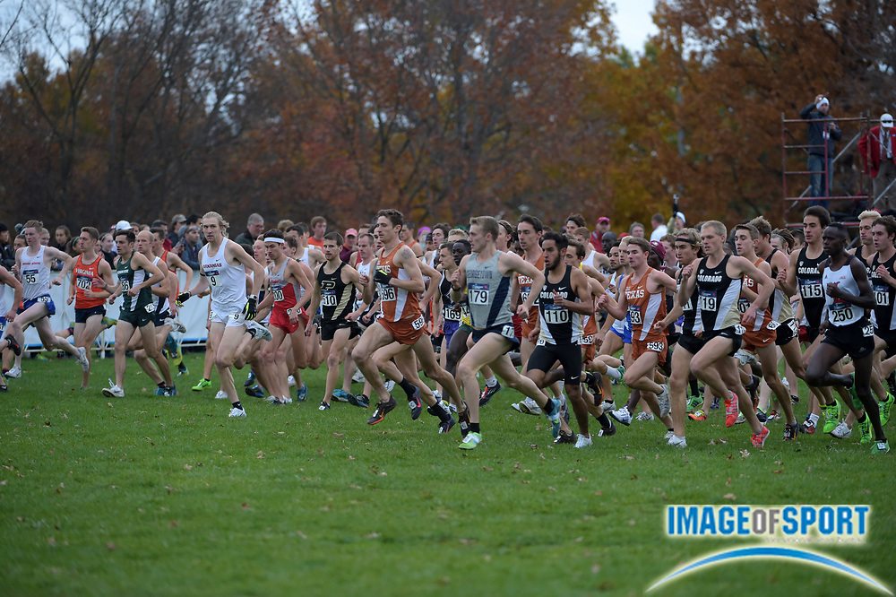 Nov 21, 2015; Louisville, KY, USA; General view of the start of the mens race during the 2015 NCAA cross country championships at Tom Sawyer Park. Mandatory Credit: Kirby Lee-USA TODAY Sports
