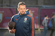 Jordan Rhodes of Middlesbrough arriving before the Sky Bet Championship match between Burnley and Middlesbrough at Turf Moor, Burnley, England on 19 April 2016. Photo by Simon Brady.