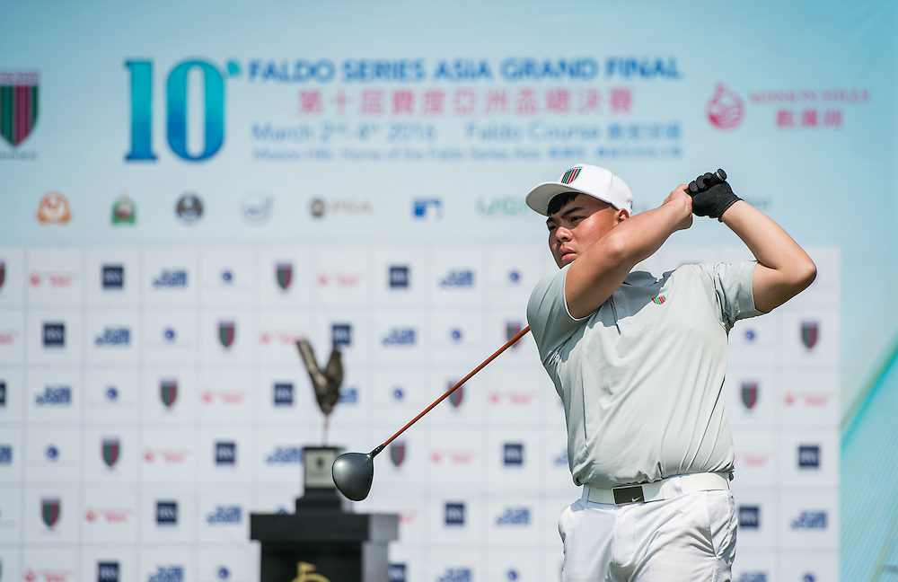 Chieh-Sheng Chen of Chinese Taipei in action during day one of the 10th Faldo Series Asia Grand Final at Faldo course in Shenzhen, China. Photo by Xaume Olleros.