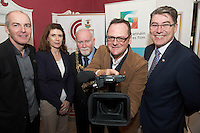 27/11/2014 Repro free  Declan Gibbons Galway Film Centre, Patricia Philbin, Galway City Council SEO Culture, Mayor of Galway Cllr Donal Lyons and David Wilson UNESCO City of Film Bradford and  Gary McMahon, Galway City Council, at the Galway Film Centre's Annual Film and Televisoin Seminar. Photo:Andrew Downes