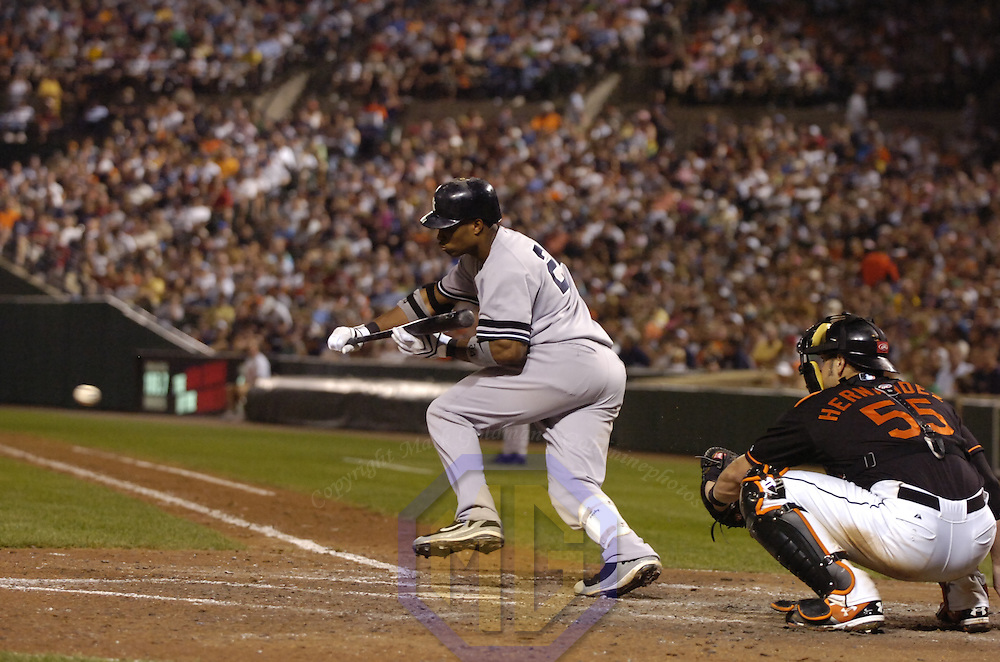 27 July 2007:  New York Yankees second baseman Robinson Cano (24) in action against the Baltimore Orioles.  The Orioles defeated the Yankees 4-2 at Camden Yards in Baltimore, MD.   ****For Editorial Use Only****