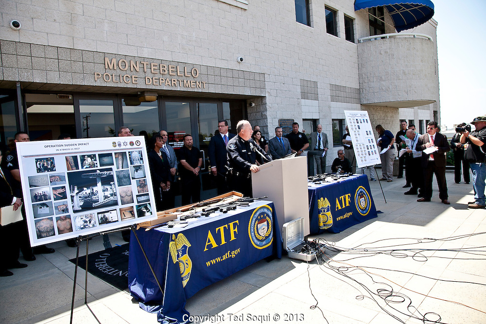 Montebello Police Chief Kevin L. McClure..Operation Sudden Impact solves six cold case murders, and leads to the arrest of forty gang members and associates who operated in Montebello, CA. .A large cache of assault weapons, many modified to fire fully automatically, were also seized. A rocket launcher was also seized by the joint task force. .Operation Sudden Impact was a multi agency effort of the ATF, Montebello PD, LA Co. Sheriff Dept, and the CA DOC, and was a two year long investigation.