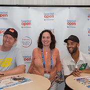 August 20, 2014, New Haven, CT:<br /> Jim Courier and James Blake pose for a photograph during the legends party during the Men's Legends Event on day six of the 2014 Connecticut Open at the Yale University Tennis Center in New Haven, Connecticut Wednesday, August 20, 2014.<br /> (Photo by Billie Weiss/Connecticut Open)
