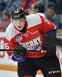 Egar Sokolov of the Cape Breton Screaming Eagles represents Team Cherry in the 2018 Sherwin-Williams CHL / NHL Top Prospects Game held in Guelph,ON on Thursday January 25. Photo by Terry Wilson / CHL Images.