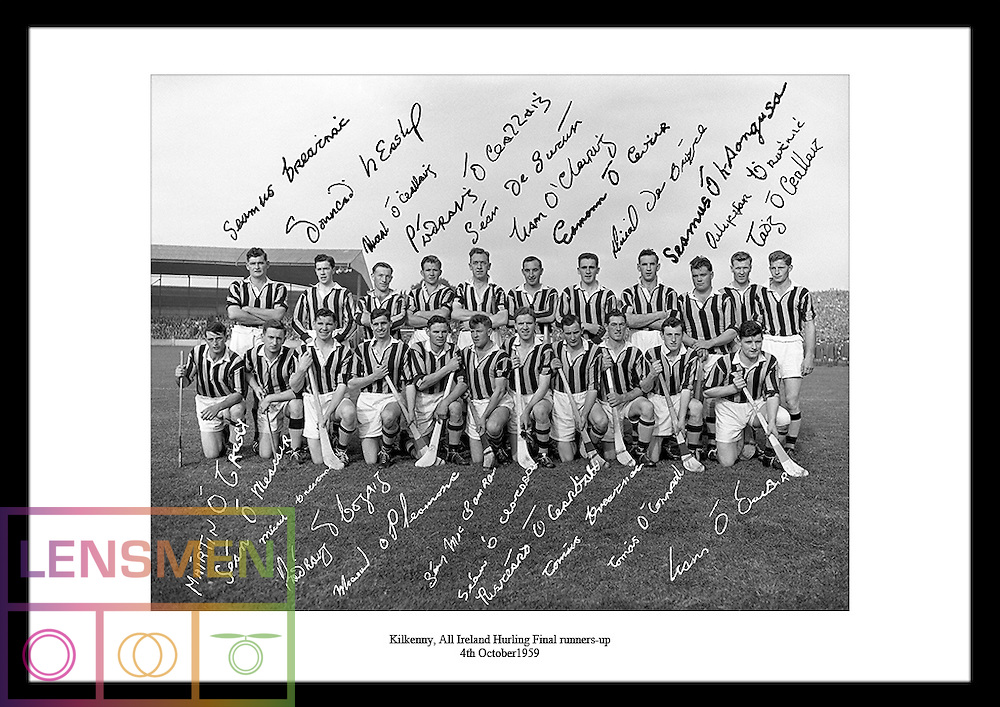 Signed quality black and white photos of irish hurling, rugby or football teams are the perfect and unique gift you can give to the men in your life. Look at www.irishphotoarchive.ie for more information.<br /> This great image shows Kilkenny, the All Ireland Hurling Final runners-up 1959.