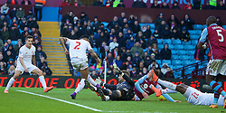 BIRMINGHAM, ENGLAND - Sunday, February 14, 2016: Liverpool's Nathaniel Clyne scores the fifth goal against Aston Villa during the Premier League match at Villa Park. (Pic by David Rawcliffe/Propaganda)