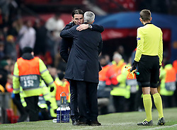 Manchester United manager Jose Mourinho (right) and BSC Young Boys manager Gerardo Seoane (left) after the final whistle