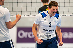 Marius den Hartog #3 of Sliedrecht Sport celebrate in the second round between Sliedrecht Sport and Draisma Dynamo on February 29, 2020 in sports hall de Basis, Sliedrecht