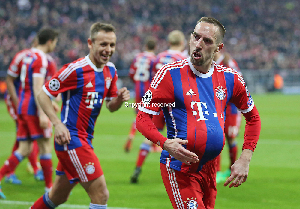 11.03.2015. Allianz Stadium, Munich, Germany. UEFA Champions League football. Bayern Munich versus Shakhtar Donetsk.  Frank RIBERY, celebrates his goal for 3-0  The game ended 7-0 to Bayern over Shakhtar.