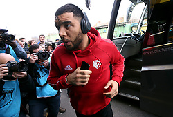 Watford's Troy Deeney arrives for the Premier League match at Vicarage Road, Watford.