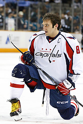 February 17, 2011; San Jose, CA, USA;  Washington Capitals left wing Alex Ovechkin (8) warms up before the game against the San Jose Sharks at HP Pavilion.  San Jose defeated Washington 3-2. Mandatory Credit: Jason O. Watson / US PRESSWIRE