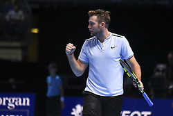 November 14, 2017 - London, England, United Kingdom - Jack Sock of the USA celebrates a point in his Singles match against Marin Cilic of Croatia on day three of the Nitto ATP World Tour Finals at O2 Arena, London on November 14, 2017. (Credit Image: © Alberto Pezzali/NurPhoto via ZUMA Press)