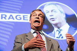 "© Licensed to London News Pictures . 22/09/2018. Bolton, UK. NIGEL FARAGE speaks . Pro Brexit campaign group Leave Means Leave host a "" Save Brexit "" and "" Chuck Chequers "" rally at the University of Bolton Stadium , attended by leave-supporting politicians from a cross section of parties , including Conservative David Davis , former UKIP leader Nigel Farage and Labour's Kate Hoey . Photo credit: Joel Goodman/LNP"