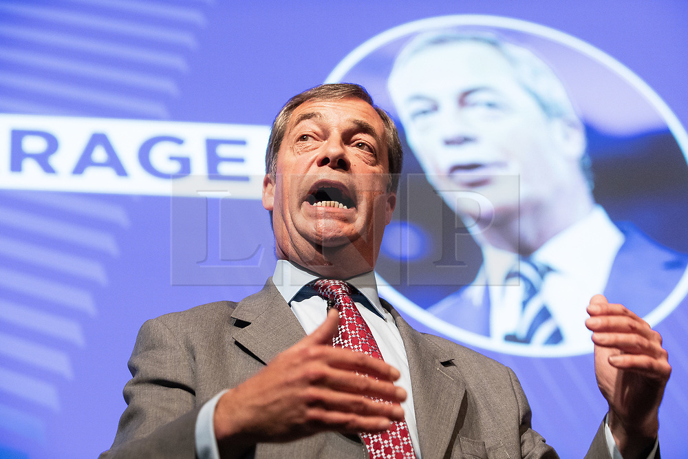 """© Licensed to London News Pictures . 22/09/2018. Bolton, UK. NIGEL FARAGE speaks . Pro Brexit campaign group Leave Means Leave host a """" Save Brexit """" and """" Chuck Chequers """" rally at the University of Bolton Stadium , attended by leave-supporting politicians from a cross section of parties , including Conservative David Davis , former UKIP leader Nigel Farage and Labour's Kate Hoey . Photo credit: Joel Goodman/LNP"""